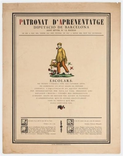 Cartell 'Patronat d'Aprenentatge', de Josep Obiols (1917)