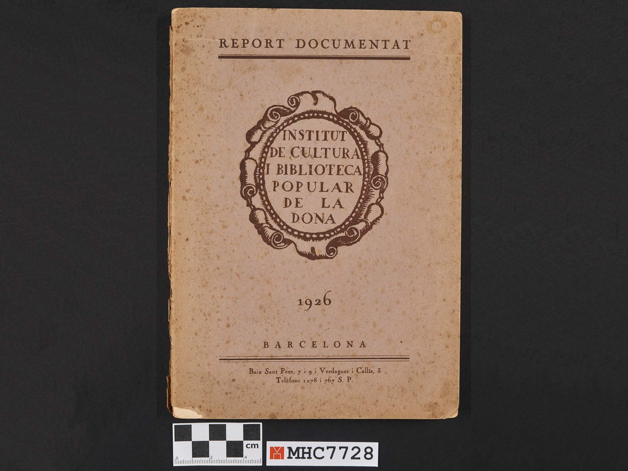 Report documentat de 1926 de l'Institut de Cultura i Biblioteca Popular de la Dona